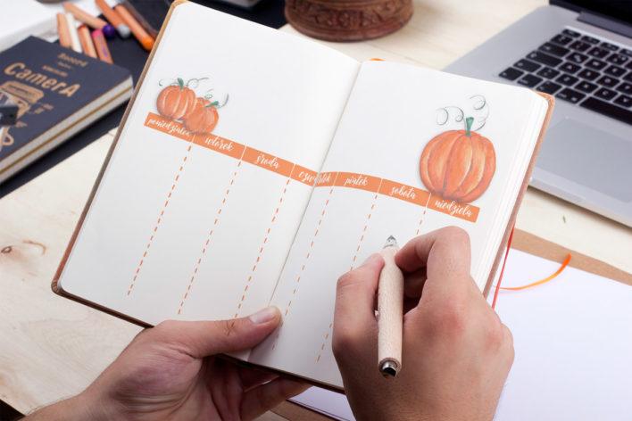 bullet journal uklad tygodnia jesienny