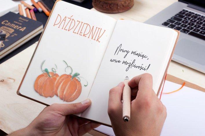 bullet journal okładka na jesien dynie