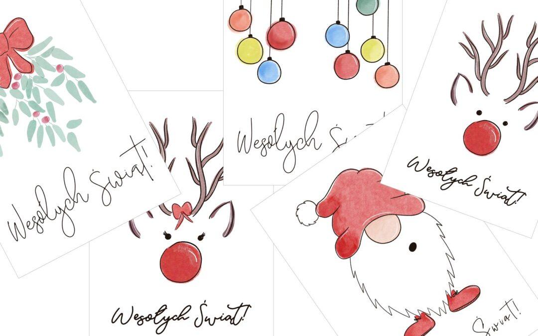 Darmowe Świąteczne kartki na Gwiazdkę! Watercolor